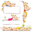 Stock Vector: Kids behind Placard