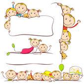 дети за плакат — Cтоковый вектор