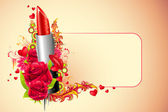 Lipstick with Flowers — Stock Vector