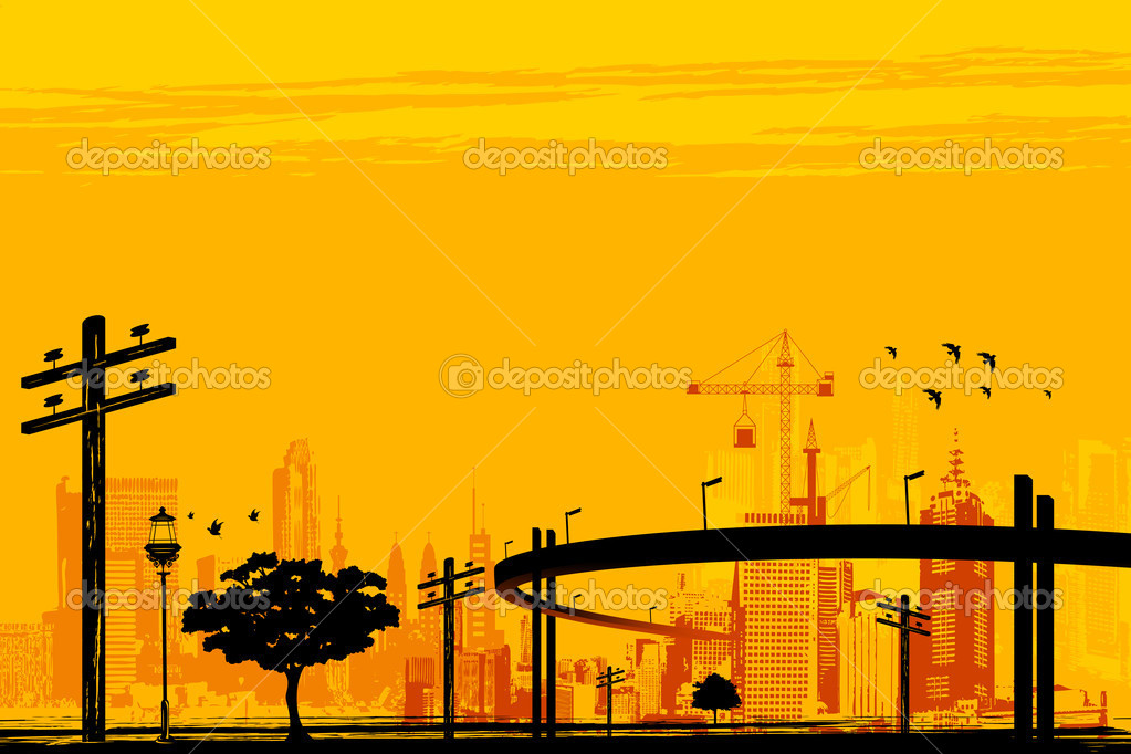 Illustration of skyscraper and over bridge in urban infrastructure  Vettoriali Stock  #8300656