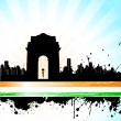 Indian City scape on Tricolor Background - Stock Vector