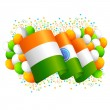 Stock Vector: IndiFlag with Tricolor Balloon