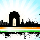 Indian City scape on Tricolor Background — Stock Vector