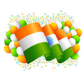 Indian Flag with Tricolor Balloon — Stock Vector