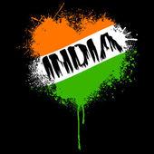 Grungy indiase vlag kleur hart — Stockvector