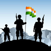 Soldier with Indian Flag — Stock Vector