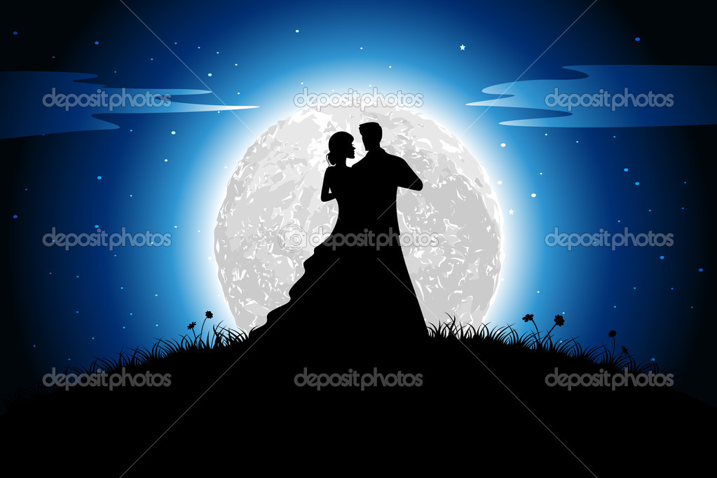 Illustration of couple in romantic mood in night view with moon backdrop — Stok Vektör #8377341