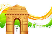India Gate on Tricolor Background — Stock Vector