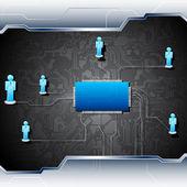 マザーボード上の人的ネットワーク — ストックベクタ