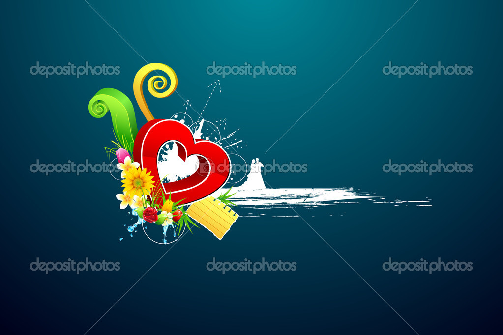 Illustraion of love couple on abstract valentine background — Stock Vector #8448143