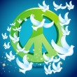 Dove flying around Peace symbol — Vettoriali Stock
