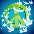 Dove flying around Peace symbol — Stockvectorbeeld