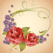 Rose sur fond rétro — Vecteur