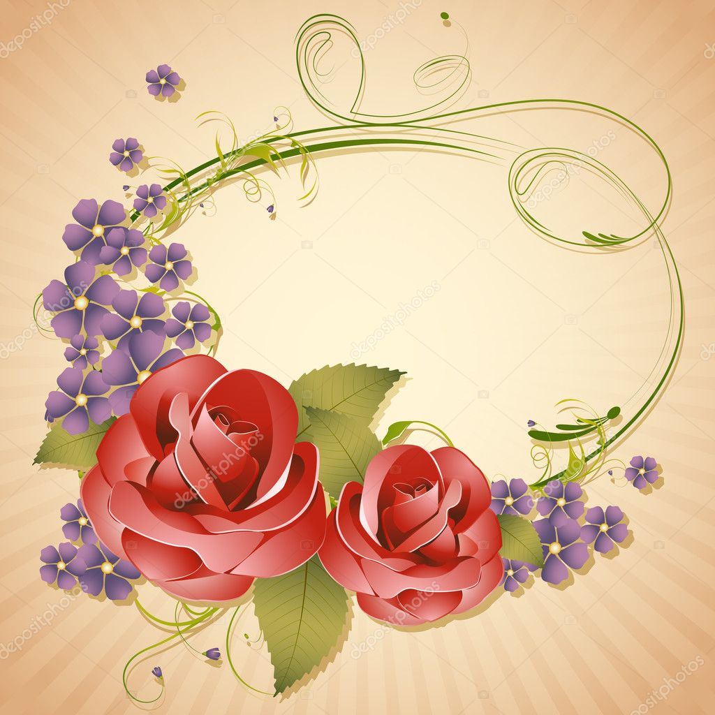 Illustration of arrangement of rose in retro background — Stock Vector #8489148