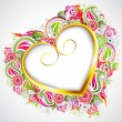 Floral Heart Frame - Image vectorielle