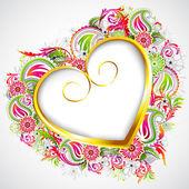 Floral Heart Frame — Stock Vector
