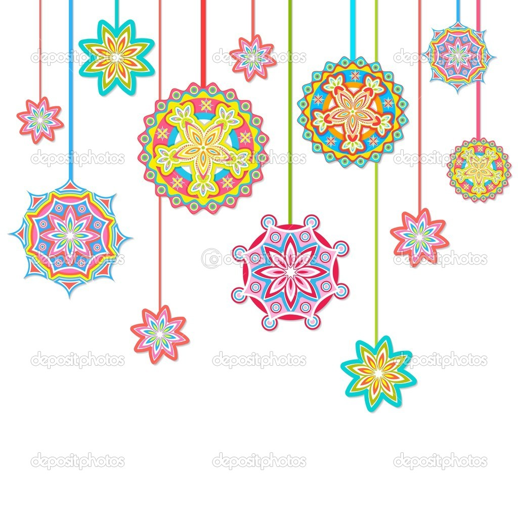 Illustration of hanging colorful floral pattern in retro style — Stock Vector #8534405