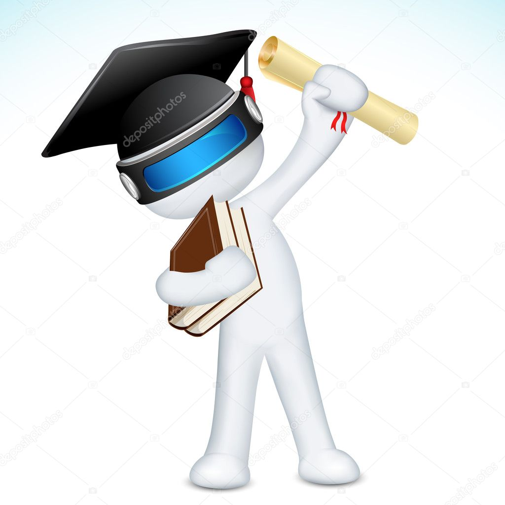 Illustration of 3d man in vector fully scalable with degree and graduation hat  Stock Vector #8537473