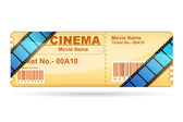 Movie Ticket wrapped with Film Reel — Stock Vector