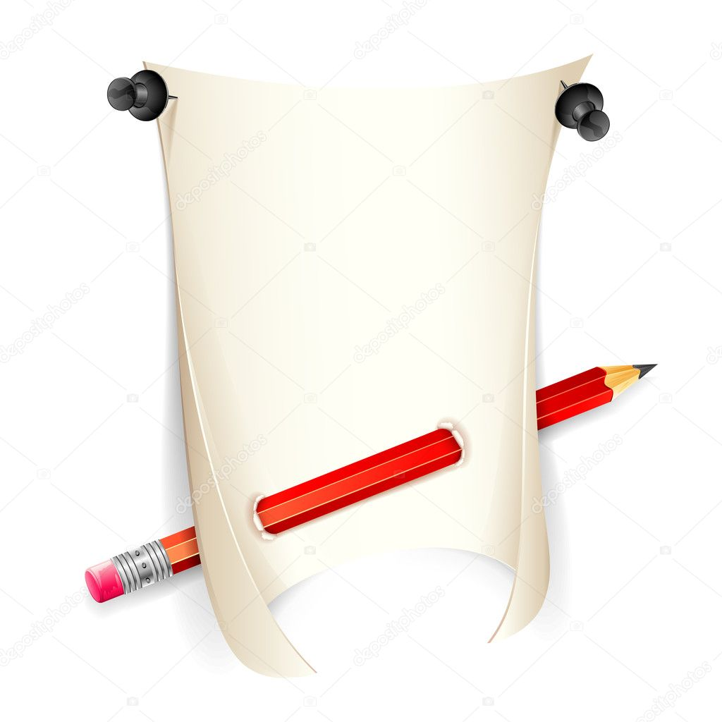 Illustration of pencil and paper with push pin  Stock Vector #8601126