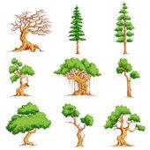 Vector Tree Set — Stock Vector