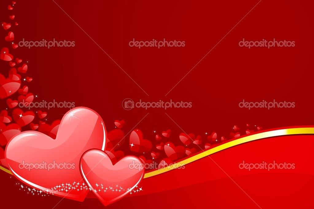 Illustration of pair of heart on love background  Stock Vector #8683254