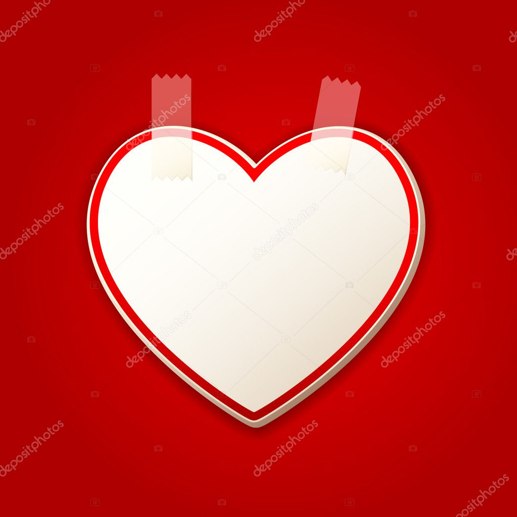 Illustration of heart shape sticker with sellotape  Stock Vector #8684270
