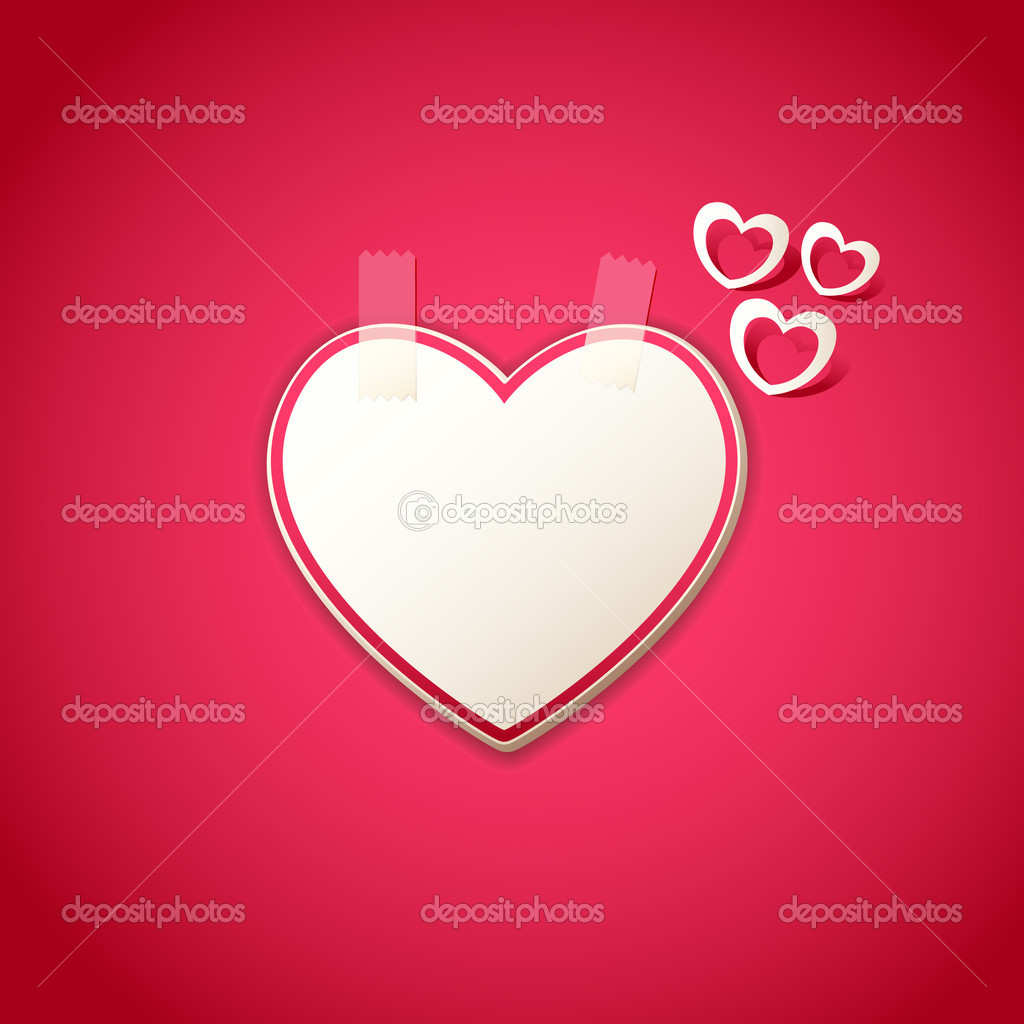 Illustration of heart shape sticker on love background  Imagen vectorial #8684340