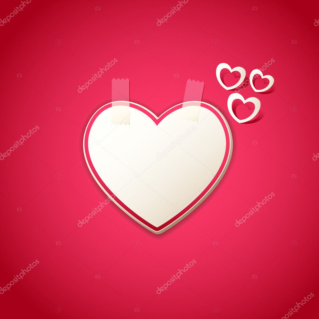 Illustration of heart shape sticker on love background   #8684340