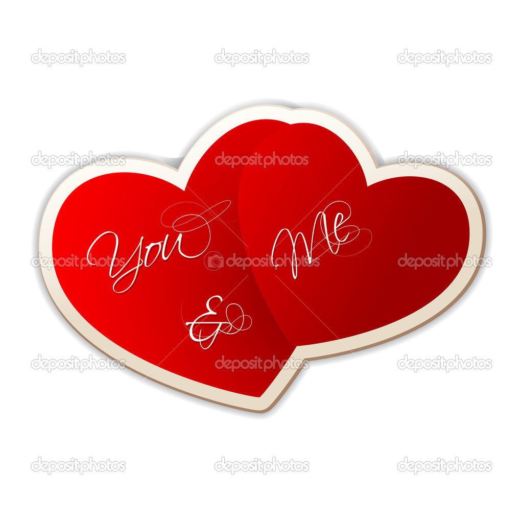 Illustration of you and me on heart shape sticker on love background — Stock Vector #8684648