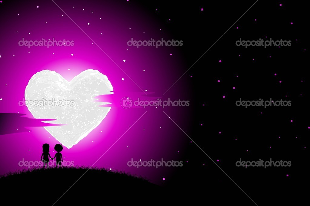 Illustration of boy and girl walking in romantic night with heart shaped moon — Stock Vector #8783660