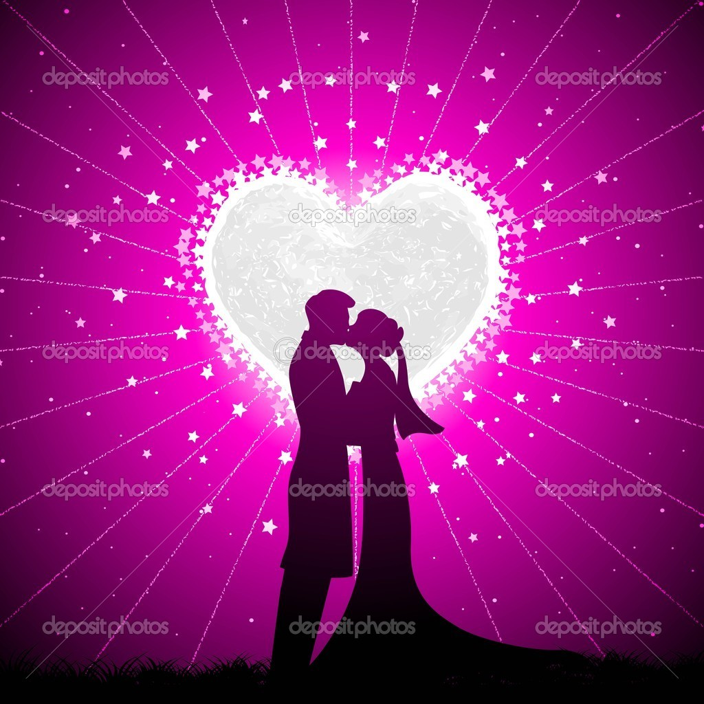 Illustration of couple kissing in night view with heart shape moon backdrop  Stock Vector #8783725