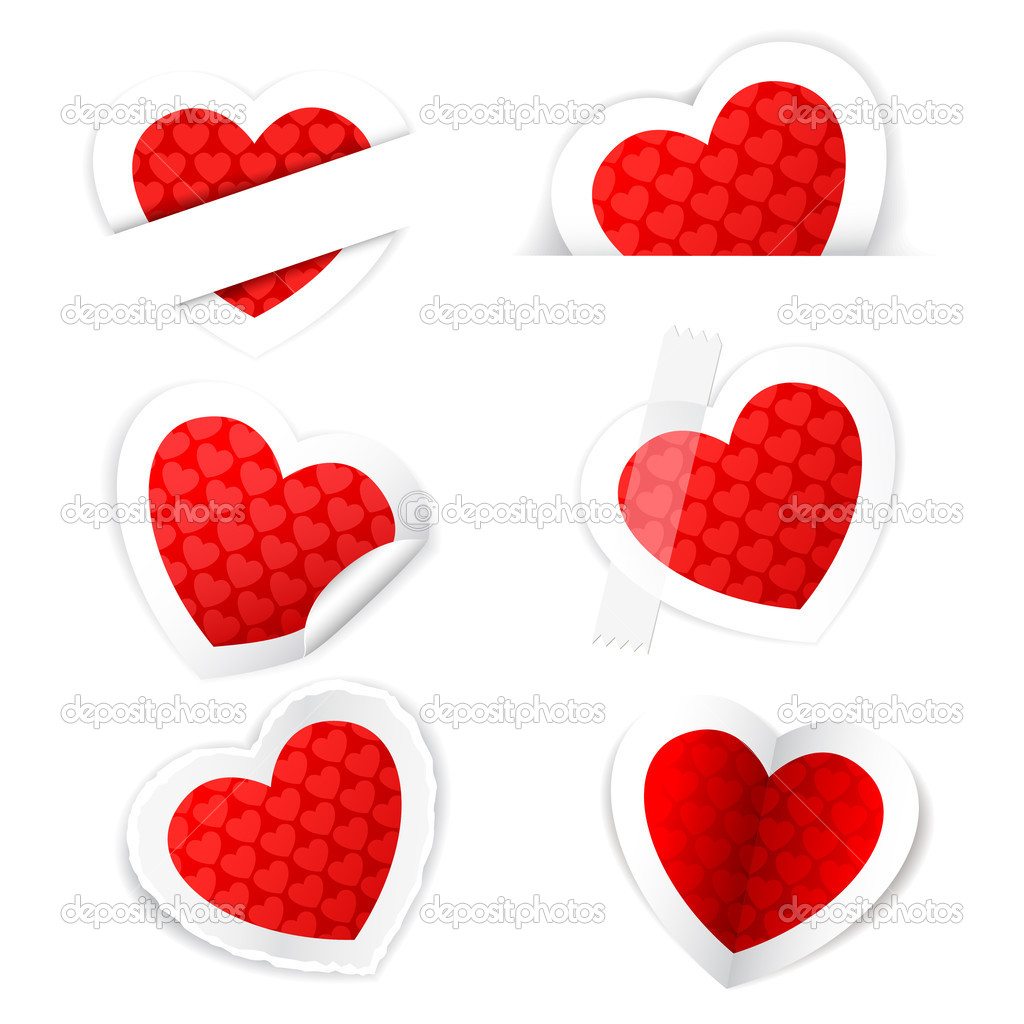 Illustration of paper heart sticker set on white background  Stock Vector #8784258