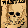 Stock Vector: Vintage Wanted Poster with Skull