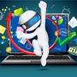 3d Business Man coming out of Laptop — Imagens vectoriais em stock