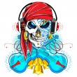Skull with Headphone - Stock Vector