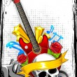 Stock Vector: Guitar with Skull