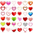 Stock Vector: Different style of Hearts