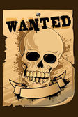 Vintage Wanted Poster with Skull — Stock Vector