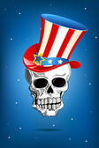 Skull with American Hat — Stock Vector