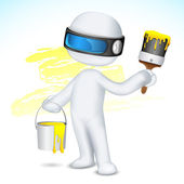 3d Man with Paint Bucket and Brush — Stock Vector