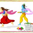 Radha Krishna Playing Holi - Stock Vector