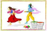 Radha Krishna Playing Holi — Stock Vector