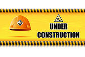 Hard Hat on Under Construction Board — Stockvector