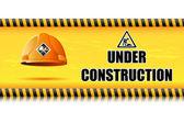 Hjälm på under konstruktion styrelse — Stockvektor