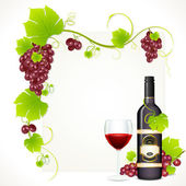 Wine Bottle with Glass — Stock Vector