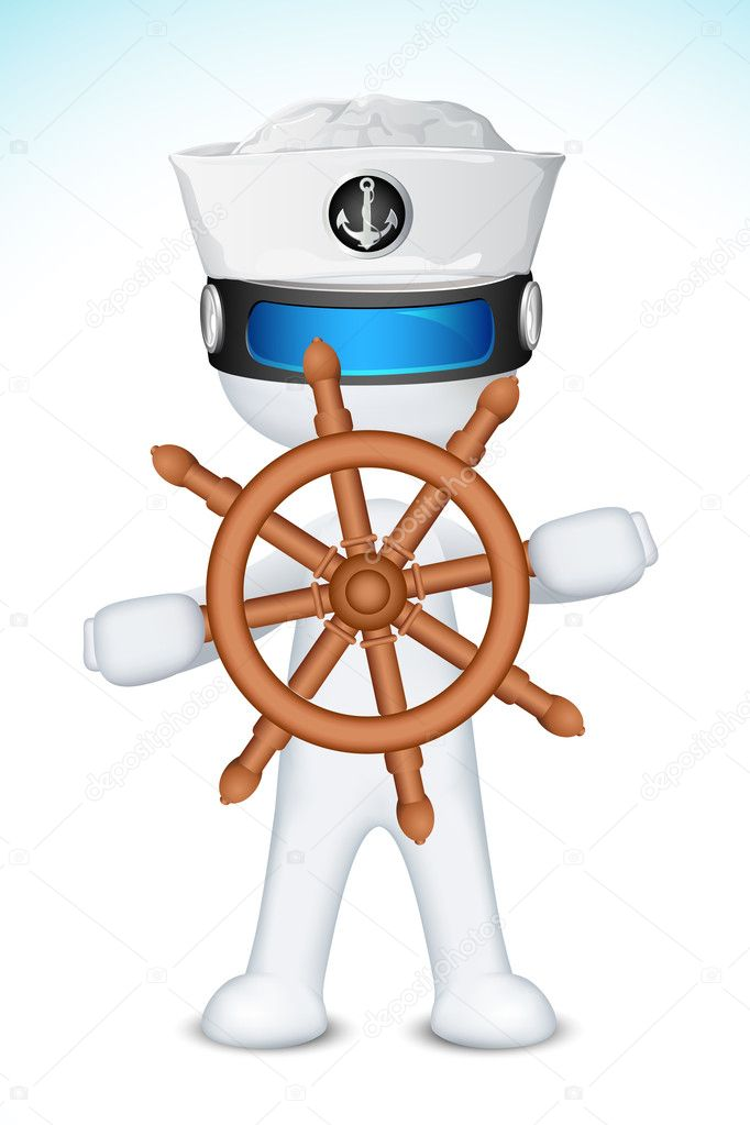Illustration of 3d sailor in vector fully scalable with ship steering wheel  Stock Vector #8983163