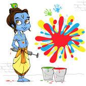 Krishna Playing Holi — Stock Vector