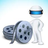 3d Man with Film Reel — Stock Vector