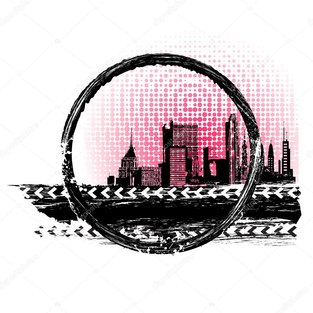 Illustration of cityscape in grungy abstract background — Stock Vector #9209347